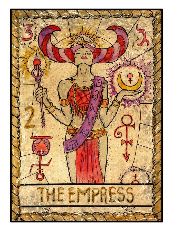 Παλαιές κάρτες tarot Πλήρης γέφυρα Η αυτοκράτειρα απεικόνιση αποθεμάτων