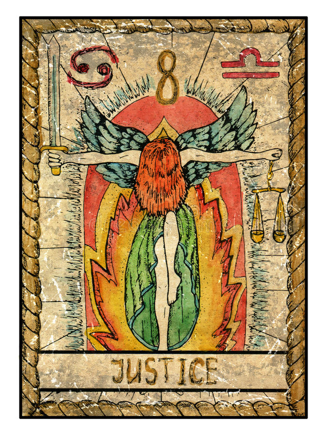Παλαιές κάρτες tarot Πλήρης γέφυρα δικαιοσύνη διανυσματική απεικόνιση