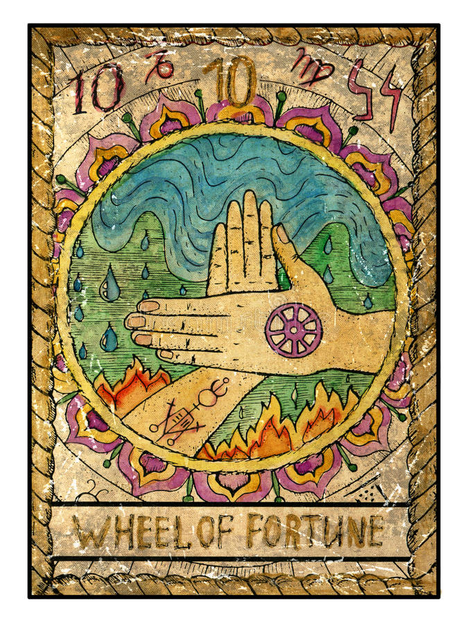 Παλαιές κάρτες tarot Πλήρης γέφυρα Ρόδα της τύχης απεικόνιση αποθεμάτων