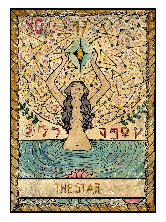 Παλαιές κάρτες tarot Πλήρης γέφυρα Το αστέρι ελεύθερη απεικόνιση δικαιώματος