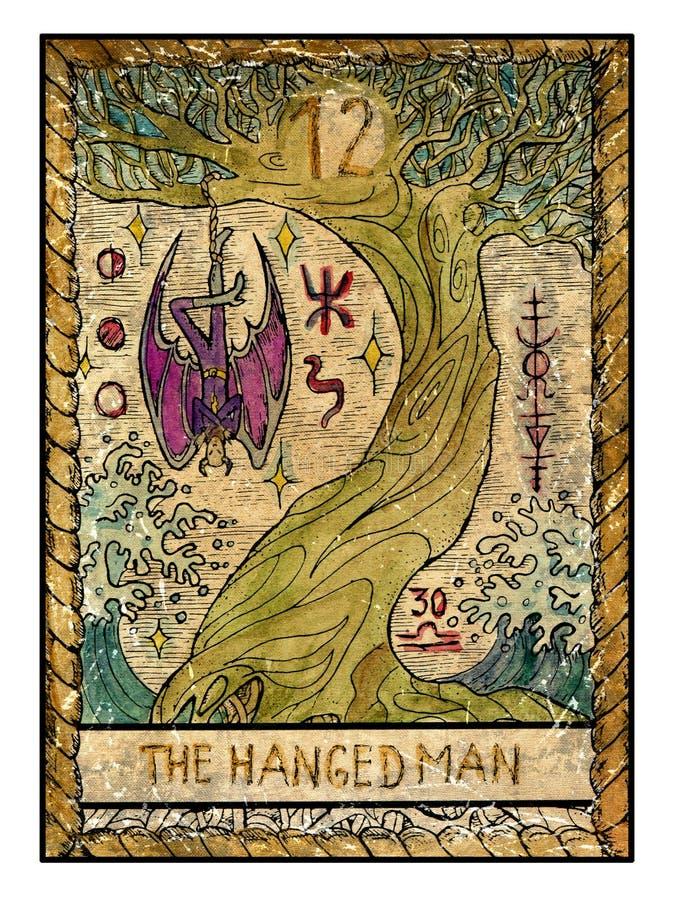 Παλαιές κάρτες tarot Πλήρης γέφυρα Το κρεμασμένο άτομο απεικόνιση αποθεμάτων
