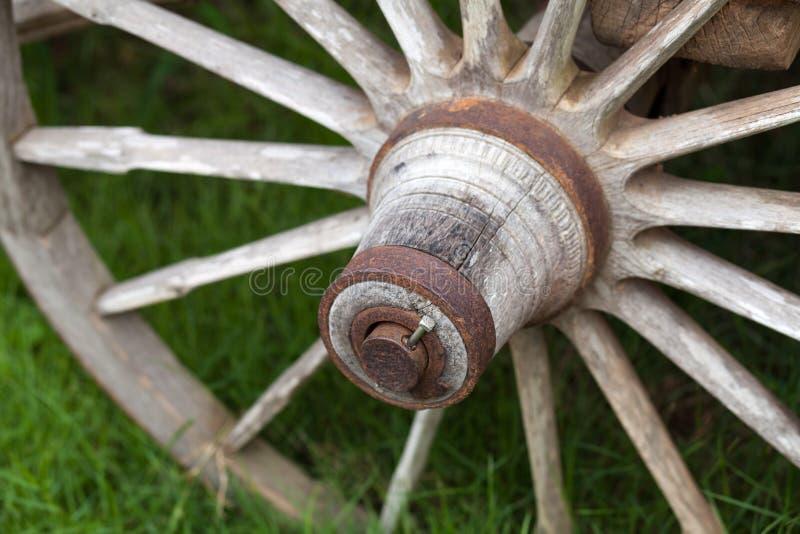 Παλαιές ξύλινες ρόδες βαγονιών εμπορευμάτων στοκ φωτογραφία
