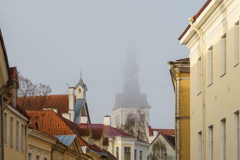 Παλαιές πόλης στέγες και εκκλησία του Άγιου Βασίλη στοκ εικόνα