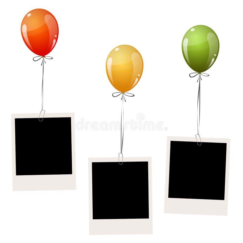 παλαιές φωτογραφίες με τα μπαλόνια διανυσματική απεικόνιση