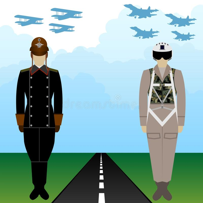 Παλαιοί και σύγχρονοι ρωσικοί πιλότοι στρατιωτικών στολών απεικόνιση αποθεμάτων