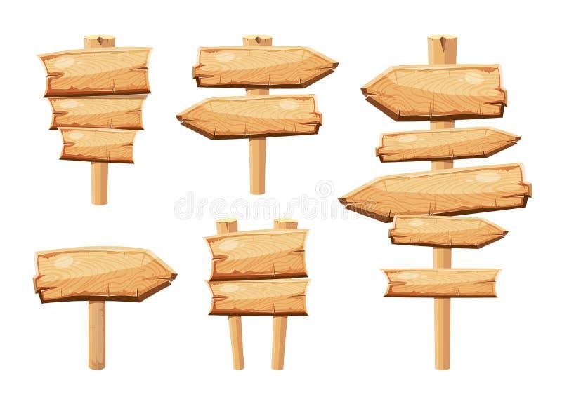 Παλαιοί ξύλινοι κενοί πίνακες σημαδιών κινούμενων σχεδίων που απομονώνονται στην άσπρη διανυσματική συλλογή απεικόνιση αποθεμάτων