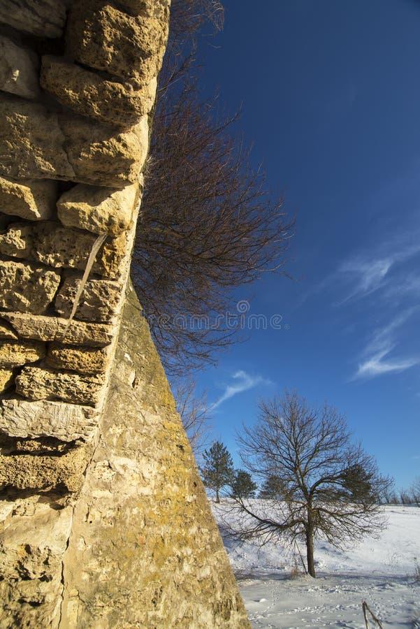 Παλαιοί τοίχοι πετρών και χιονισμένος τομέας στοκ φωτογραφίες με δικαίωμα ελεύθερης χρήσης