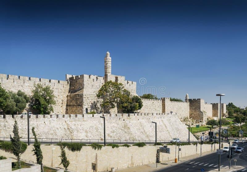 Παλαιοί τοίχοι πόλης ακροπόλεων της Ιερουσαλήμ Ισραήλ στοκ φωτογραφία με δικαίωμα ελεύθερης χρήσης