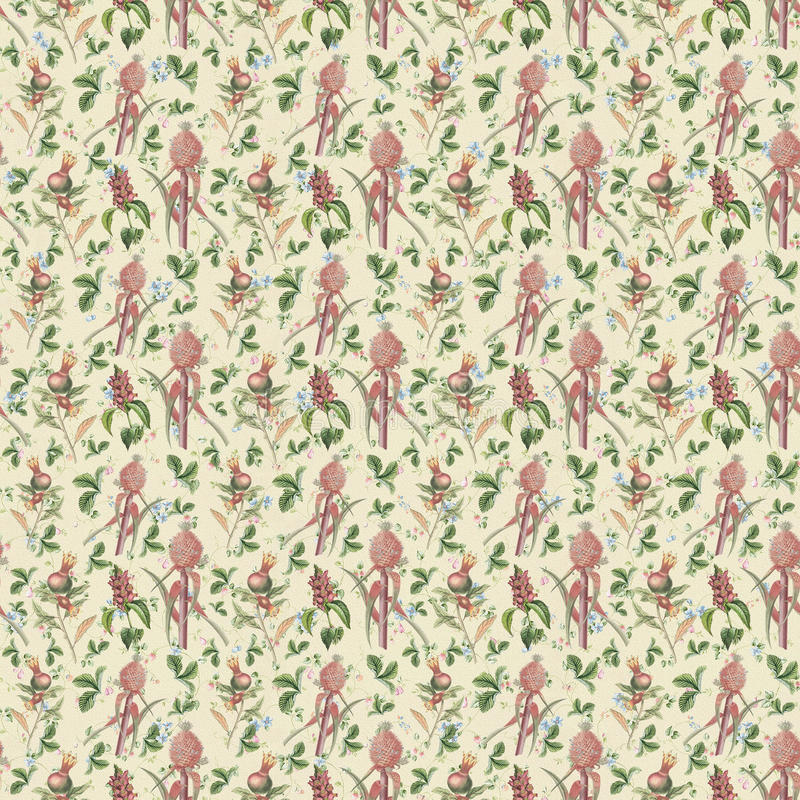 Παλαιός άνευ ραφής επαναλαμβάνει τη βοτανική floral ταπετσαρία σχεδίων απεικόνιση αποθεμάτων