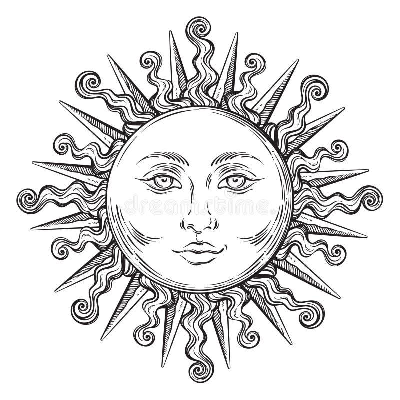 Παλαιός ήλιος τέχνης ύφους συρμένος χέρι Κομψό διάνυσμα σχεδίου δερματοστιξιών Boho διανυσματική απεικόνιση