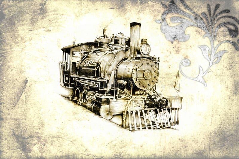 Παλαιός αναδρομικός τρύγος κινητήριων μηχανών ατμού διανυσματική απεικόνιση