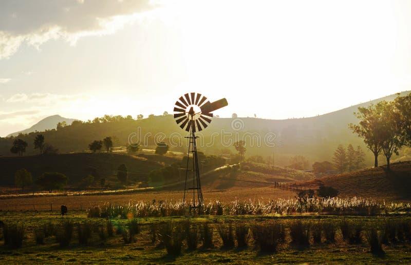 Παλαιός ανεμόμυλος στο αγροτικό τοπίο χωρών στον εσωτερικό Αυστραλία ηλιοβασιλέματος στοκ εικόνα με δικαίωμα ελεύθερης χρήσης