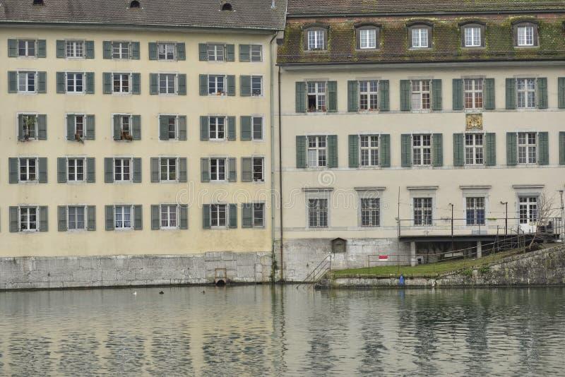 Παλαιός γερμανικός μπαρόκ κτηρίου, χαρακτηριστικός στην Ελβετία στοκ εικόνα