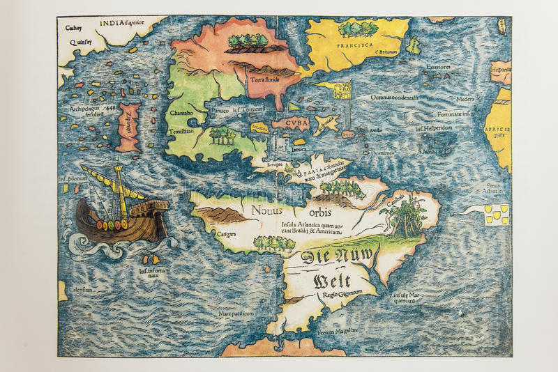 Παλαιός γερμανικός χάρτης της Αμερικής στοκ εικόνες