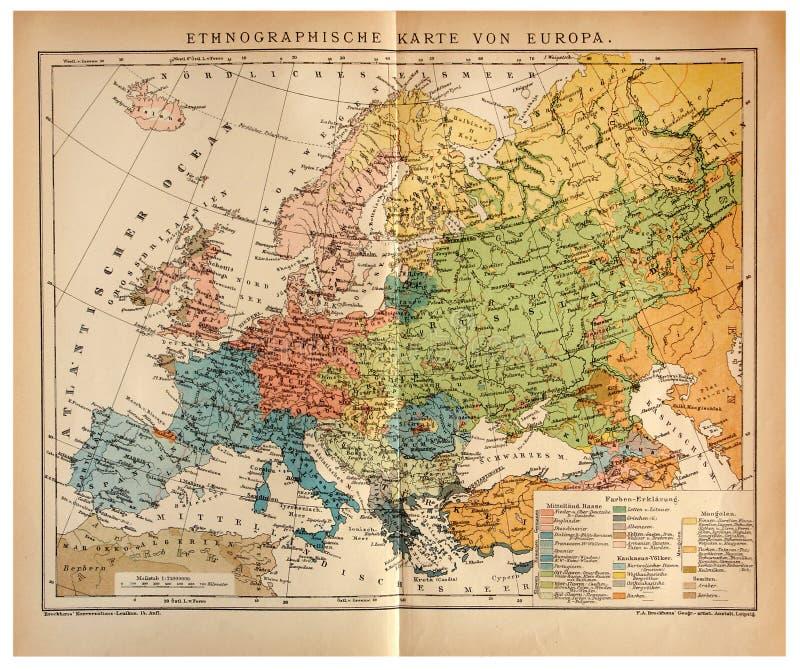 Παλαιός εθνογραφικός χάρτης της Ευρώπης στοκ εικόνες