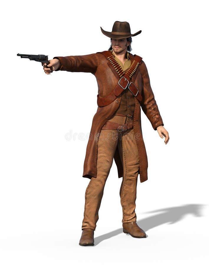 Παλαιός εκτός νόμου δυτικού Gunslinger διανυσματική απεικόνιση