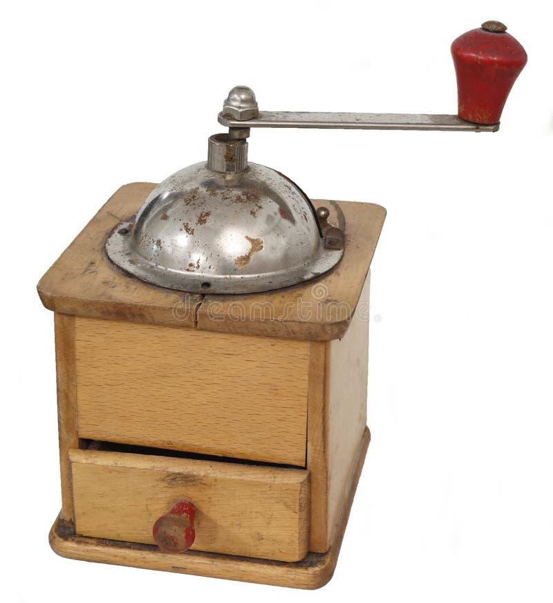 Παλαιός εκλεκτής ποιότητας χειρωνακτικός μύλος καφέ που απομονώνεται στο άσπρο υπόβαθρο στοκ εικόνες