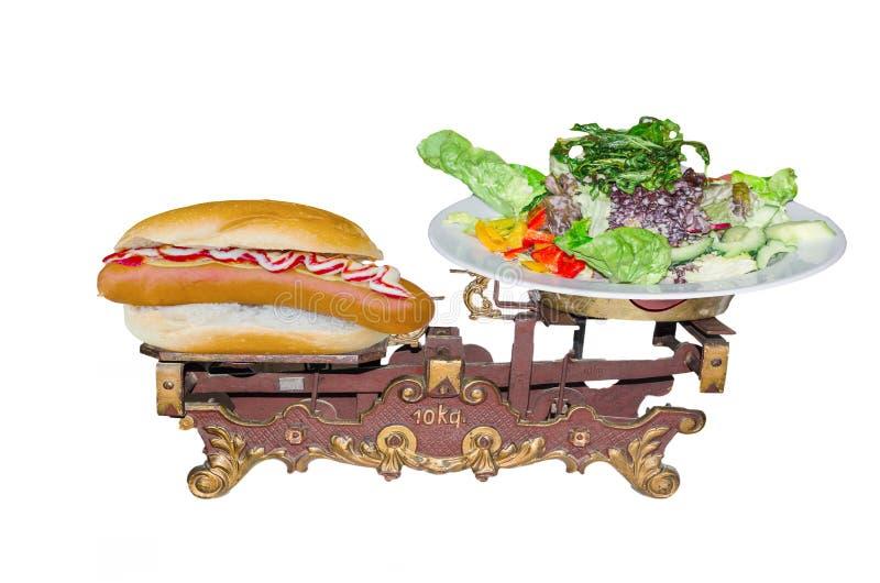 Παλαιός ζυγίστε το σπίτι Συμβολίζει την υγιεινή διατροφή στοκ εικόνες με δικαίωμα ελεύθερης χρήσης