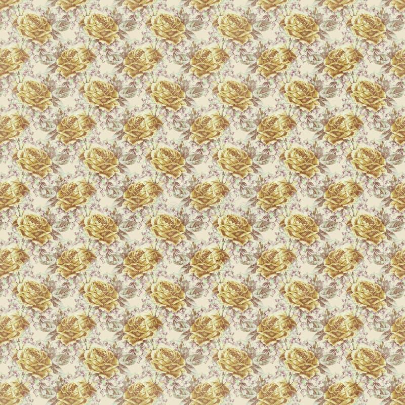 Παλαιός κίτρινος shabby κομψός αυξήθηκε ταπετσαρία σχεδίων επανάληψης στοκ εικόνα