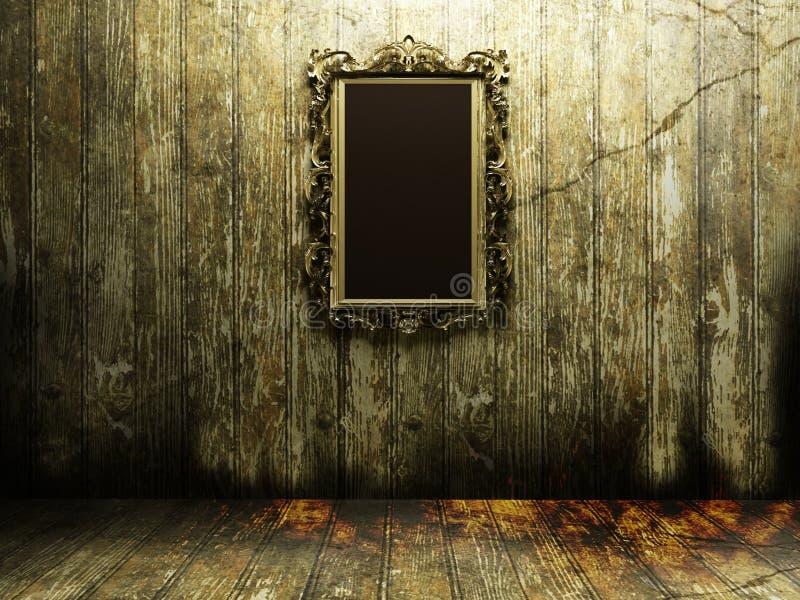 Παλαιός καθρέφτης σε ένα σκοτεινό δωμάτιο διανυσματική απεικόνιση
