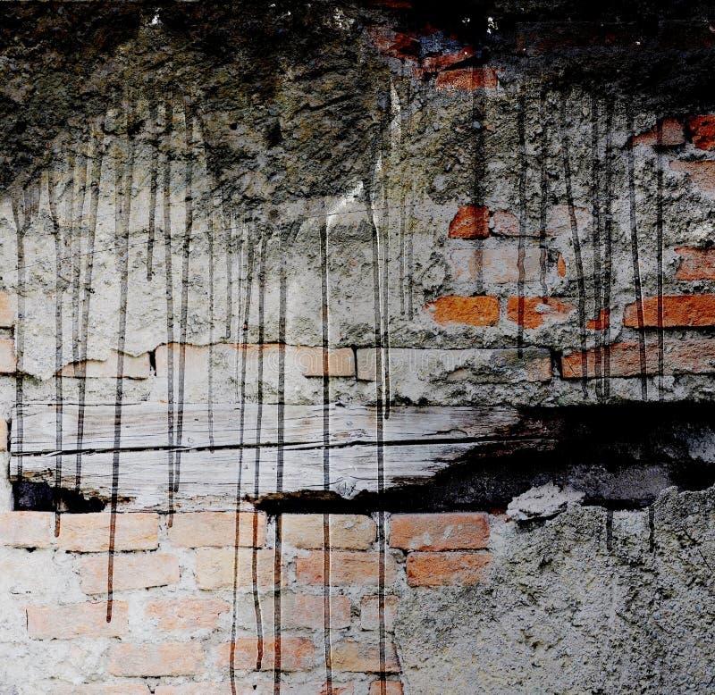 Παλαιός και χαλασμένος τουβλότοιχος με το μαύρο στάλαγμα διάνυσμα εικόνας απεικόνισης στοιχείων σχεδίου στοκ εικόνες