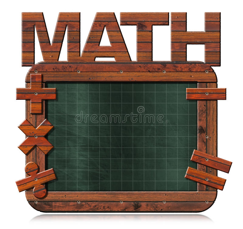 Παλαιός κενός πίνακας με το κείμενο Math απεικόνιση αποθεμάτων