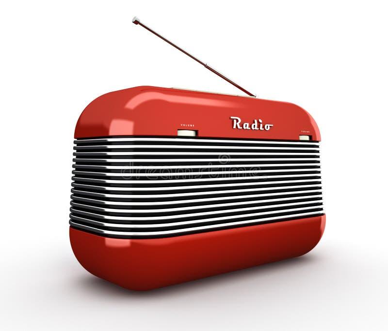 Παλαιός κόκκινος εκλεκτής ποιότητας αναδρομικός ραδιο δέκτης ύφους στη λευκιά ΤΣΕ απεικόνιση αποθεμάτων