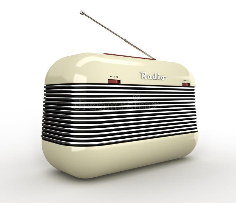 Παλαιός μπεζ εκλεκτής ποιότητας αναδρομικός ραδιο δέκτης ύφους στο άσπρο β απεικόνιση αποθεμάτων