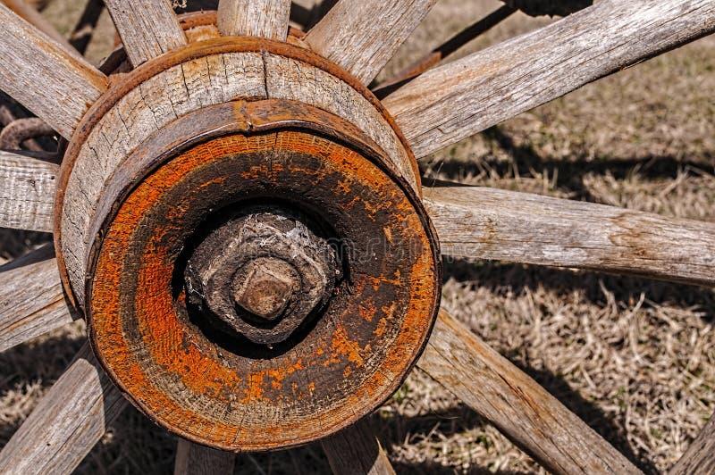 Παλαιός ξύλινος η ρόδα βαγονιών εμπορευμάτων στοκ εικόνες
