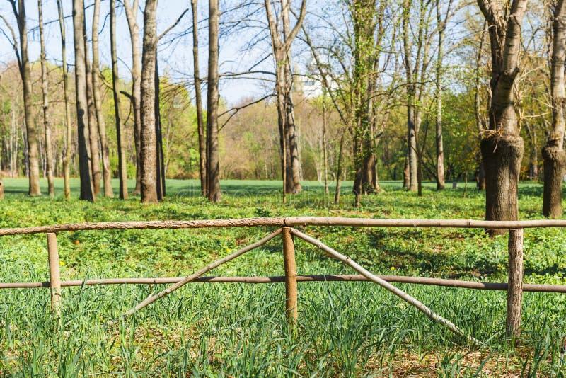 Παλαιός ξύλινος φράκτης στο αγρόκτημα στοκ φωτογραφίες