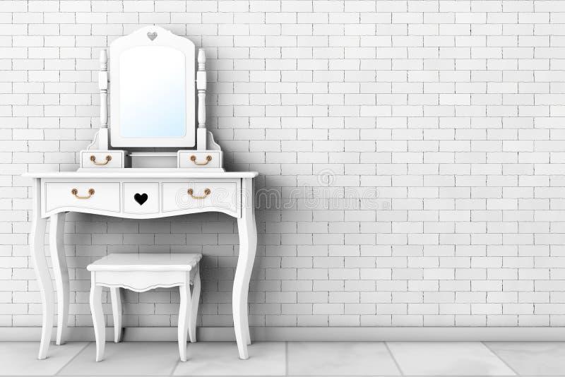 Παλαιός πίνακας ματαιοδοξίας κρεβατοκάμαρων με το σκαμνί και τον καθρέφτη τρισδιάστατη απόδοση ελεύθερη απεικόνιση δικαιώματος
