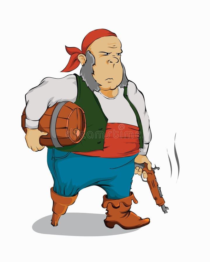 Παλαιός πειρατής με ένα πυροβόλο όπλο διανυσματική απεικόνιση