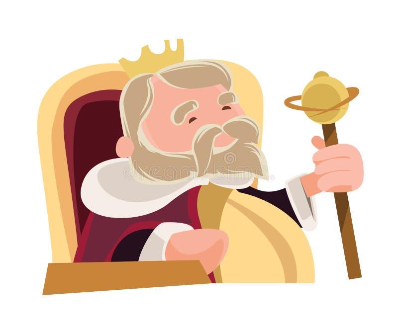 Παλαιός σοφός βασιλιάς που κάθεται το βασιλικό χαρακτήρα κινουμένων σχεδίων απεικόνισης ελεύθερη απεικόνιση δικαιώματος