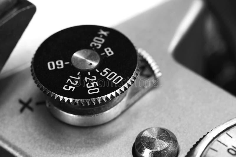Παλαιός στενός επάνω κουμπιών παραθυρόφυλλων καμερών στοκ εικόνα με δικαίωμα ελεύθερης χρήσης