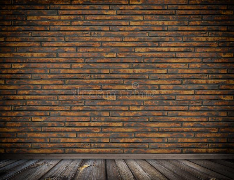 Παλαιός τοίχος τούβλων και ξύλινο υπόβαθρο πατωμάτων διανυσματική απεικόνιση