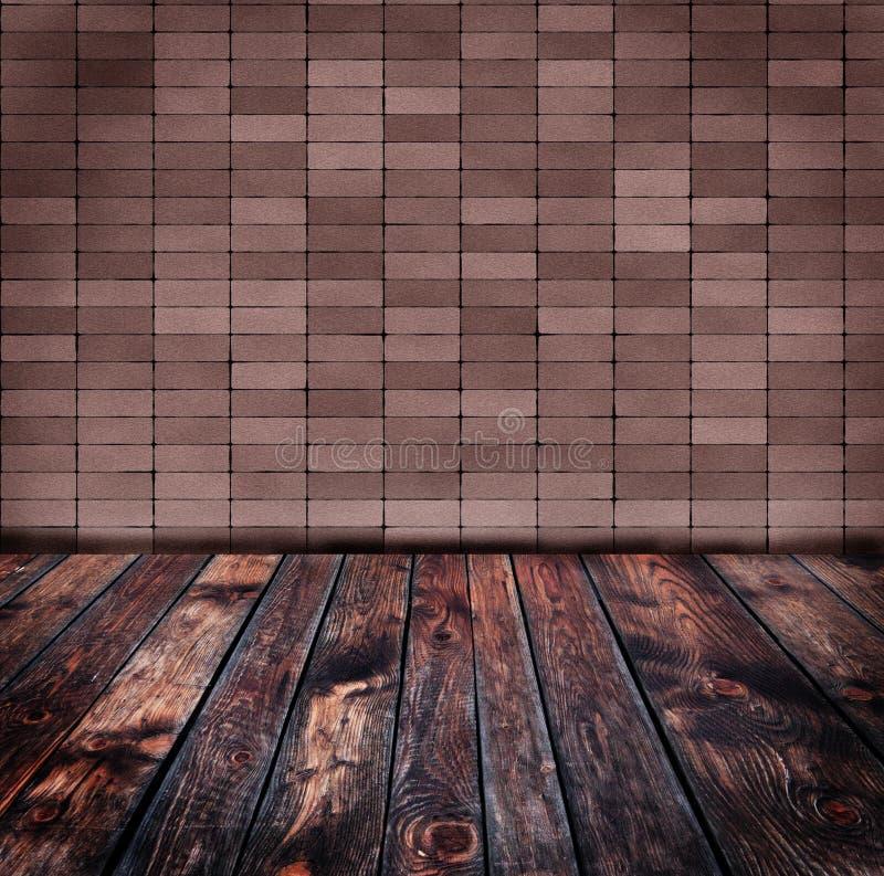 Παλαιός τουβλότοιχος και ξύλινο πάτωμα ελεύθερη απεικόνιση δικαιώματος