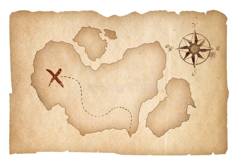 Παλαιός χάρτης θησαυρών που απομονώνεται με το ψαλίδισμα της πορείας στοκ εικόνες με δικαίωμα ελεύθερης χρήσης