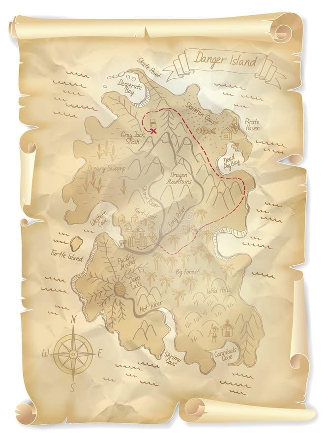 Παλαιός χάρτης νησιών θησαυρών πειρατών με τη χαρακτηρισμένη θέση απεικόνιση αποθεμάτων