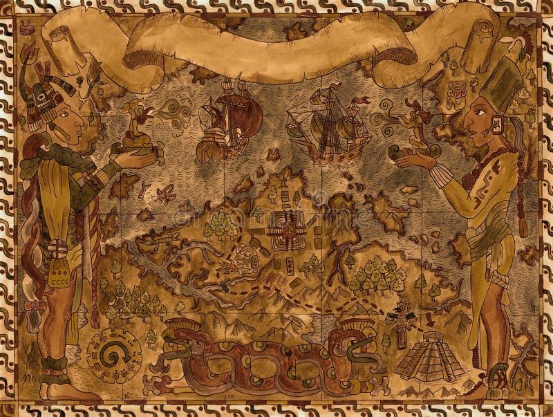 Παλαιός χάρτης πειρατών maya και Αζτέκων των θησαυρών απεικόνιση αποθεμάτων