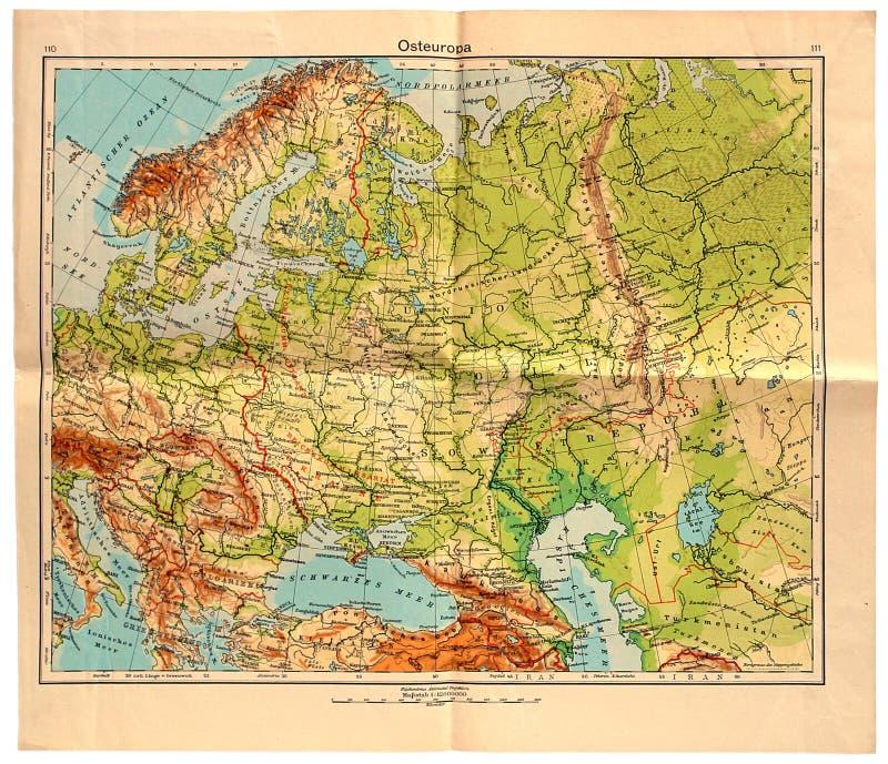 Παλαιός χάρτης της ανατολικής Ευρώπης το 1943 στοκ εικόνα με δικαίωμα ελεύθερης χρήσης