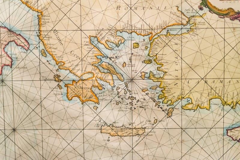 Παλαιός χάρτης της Ελλάδας, δυτική Τουρκία, Άλμπανυ, Κρήτη στοκ εικόνες