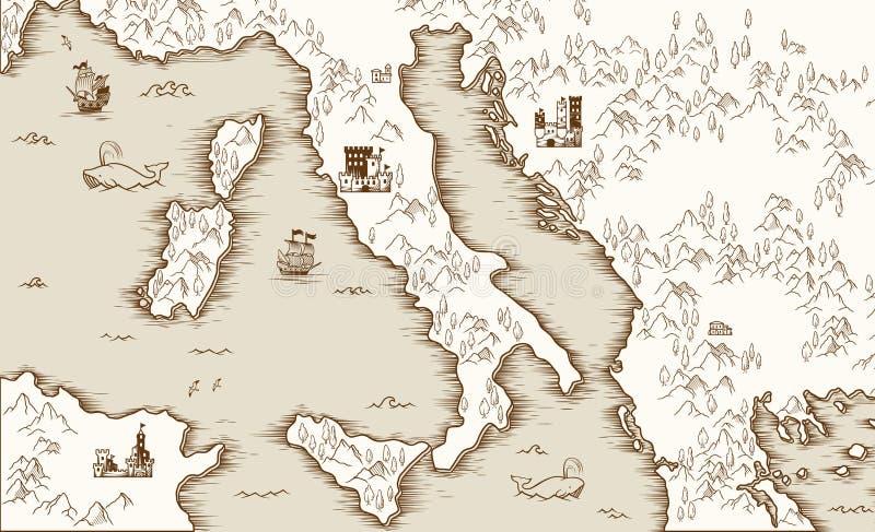 Παλαιός χάρτης της Ιταλίας, μεσαιωνική χαρτογραφία, διανυσματική απεικόνιση απεικόνιση αποθεμάτων