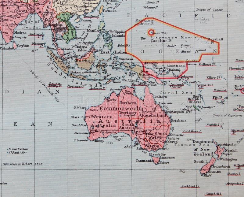Παλαιός χάρτης του 1945 της Αυστραλίας, Άπω Ανατολή ελεύθερη απεικόνιση δικαιώματος