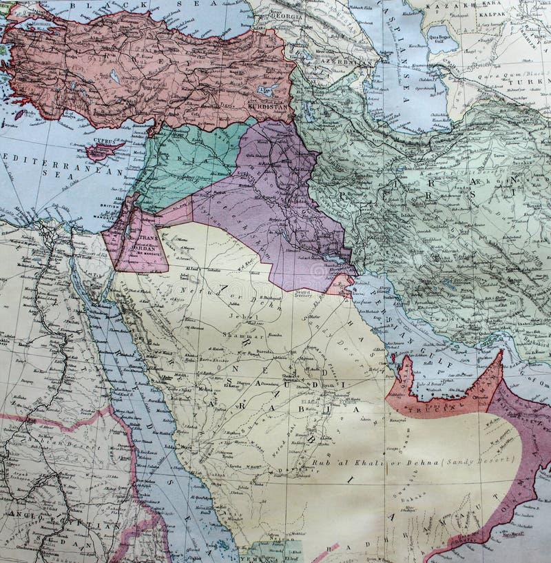 Παλαιός χάρτης του 1945 της Σαουδικής Αραβίας συμπεριλαμβανομένου του Ιράν διανυσματική απεικόνιση