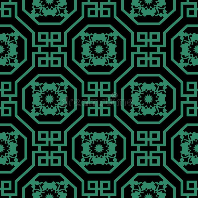 Παλαιό άνευ ραφής πράσινο σπειροειδές τετραγωνικό λουλούδι οκταγώνων υποβάθρου διανυσματική απεικόνιση