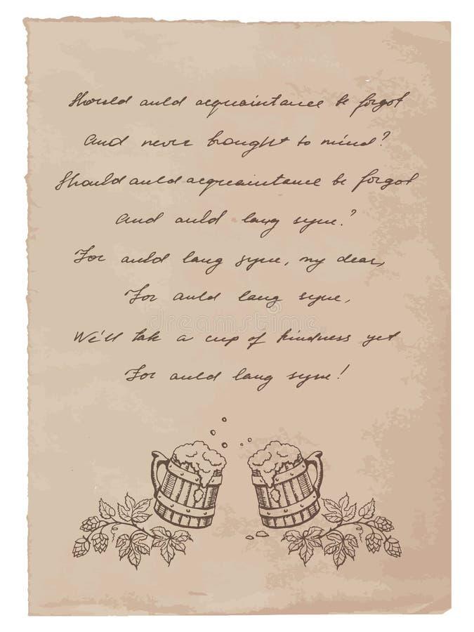 Παλαιό έγγραφο με τις χειρόγραφες κούπες κειμένων και μπύρας ελεύθερη απεικόνιση δικαιώματος