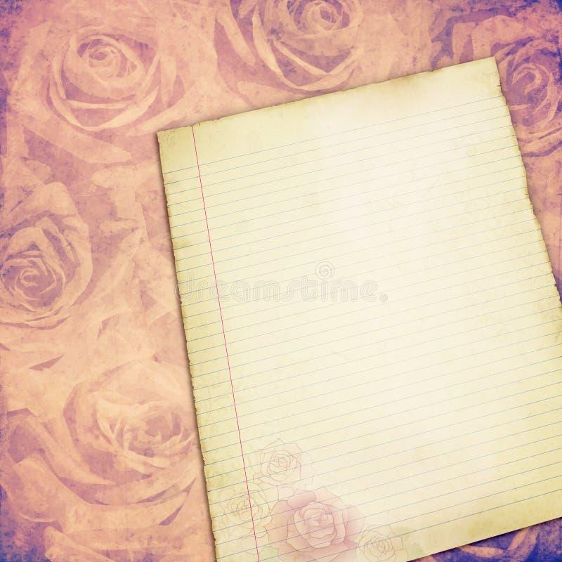 Παλαιό έγγραφο με το υπόβαθρο τριαντάφυλλων στοκ φωτογραφία με δικαίωμα ελεύθερης χρήσης
