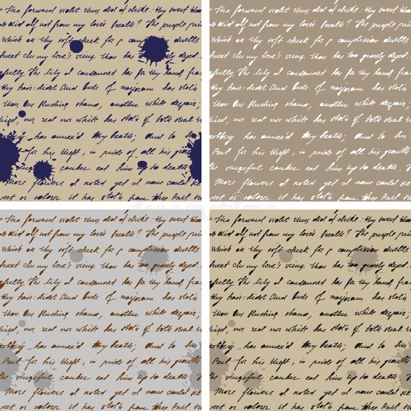 Παλαιό έγγραφο με το χειρόγραφο κείμενο SeamlessBackground ελεύθερη απεικόνιση δικαιώματος