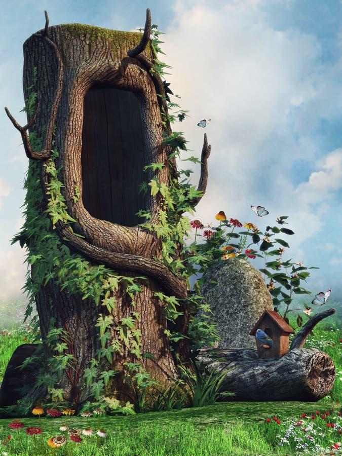 Παλαιό δέντρο με μια κοιλότητα ελεύθερη απεικόνιση δικαιώματος