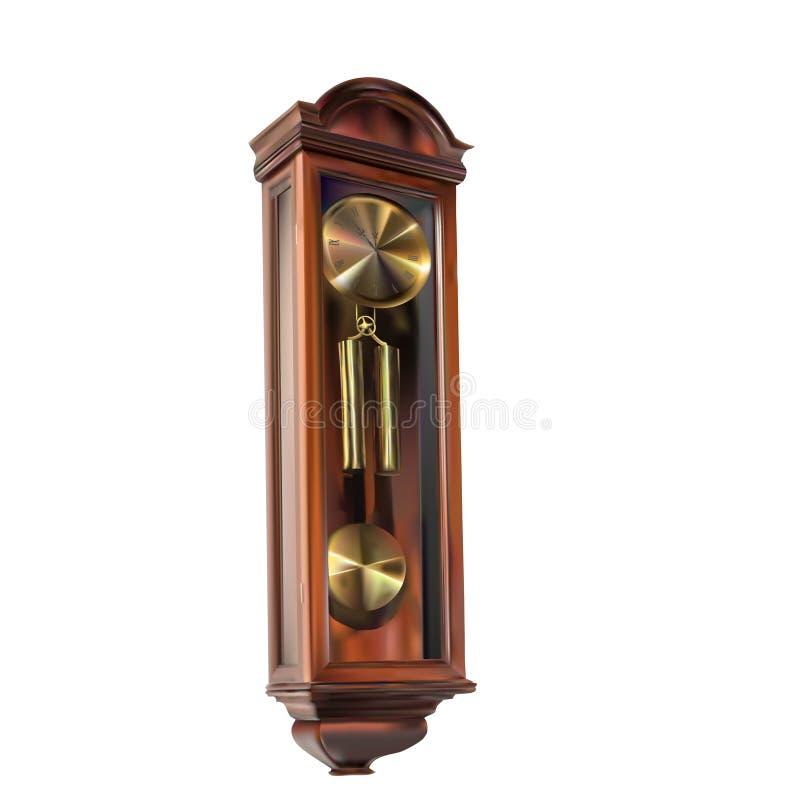 Παλαιό αναδρομικό ρολόι τοίχων με το εκκρεμές διανυσματική απεικόνιση
